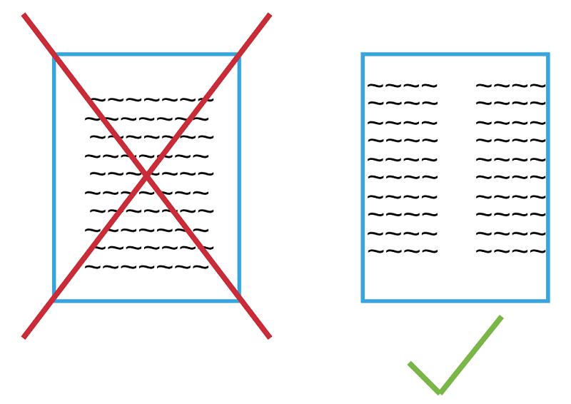 Beim Design vom Stellenanzeigen ist Zweispaltig besser als Einspaltig